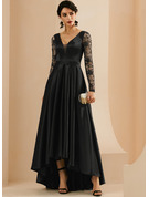A-Line V-neck Floor-Length Satin Evening Dress With Lace