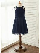 A-Line/Princess Knee-length Flower Girl Dress - Chiffon Sleeveless Scoop Neck With Beading/Pleated