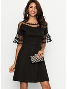 Chiffon With Lace Knee Length Dress