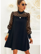 Lace Print Shift Round Neck Long Sleeves Midi Elegant Party Dresses