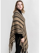 Striped Oversized/Cold weather Artificial Wool Poncho