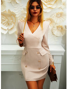 Solid Bodycon V-Neck Long Sleeves Midi Casual Elegant Dresses