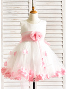 Knee-length Flower Girl Dress - Organza Satin Tulle Sleeveless Scoop Neck