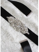 Beautiful Ribbon Sash With Rhinestones/Imitation Pearls