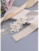 Polyester Sash With Flower/Rhinestones/Imitation Pearls