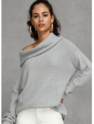 Waffle Knit Polyester Off the Shoulder Pullovers Sweaters