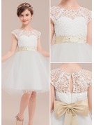 A-Line/Princess Knee-length Flower Girl Dress - Satin/Tulle/Lace Sleeveless Scoop Neck With Sash/Bow(s)/Rhinestone