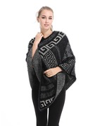 Geometric Print Oversized/simple Artificial Wool Poncho