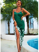 Floral Print A-line Spaghetti Straps Sleeveless Maxi Casual Vacation Skater Type Dresses