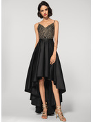 A-Line V-neck Asymmetrical Satin Lace Evening Dress