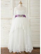 Ball-Gown/Princess Floor-length Flower Girl Dress - Satin/Tulle/Lace Long Sleeves Scoop Neck With Sash/Rhinestone