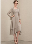 A-Line Scoop Neck Asymmetrical Chiffon Mother of the Bride Dress With Beading Sequins