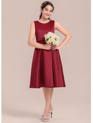 A-Line/Princess Scoop Neck Knee-Length Satin Junior Bridesmaid Dress With Lace Bow(s)
