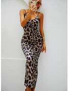 Leopard Print Backless Bodycon Spaghetti Straps Sleeveless Midi Party Sexy Type Dresses