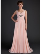A-Line Scoop Neck Sweep Train Chiffon Mother of the Bride Dress With Ruffle Beading