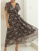 Floral Print A-line V-Neck Short Sleeves Maxi Casual Vacation Skater Wrap Dresses