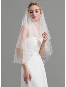 Two-tier Lace Applique Edge Elbow Bridal Veils With Beading/Rhinestones