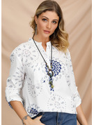 Long Sleeves Cotton Blends V Neck Shirt Blouses Blouses
