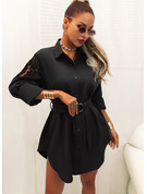 Lace Solid Sheath Shirt collar Long Sleeves Midi Casual Little Black Shirt Dresses