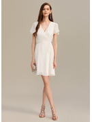 A-Line V-neck Short/Mini Cocktail Dress With Ruffle