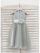 Tea-length Flower Girl Dress - Tulle Sequined Sleeveless Scoop Neck With Flower(s)