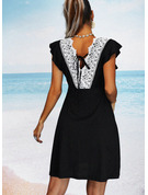Solid Backless Sheath Round Neck Cap Sleeve Midi Casual Little Black Vacation Dresses