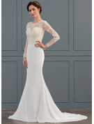Trumpet/Mermaid Scoop Neck Sweep Train Stretch Crepe Wedding Dress