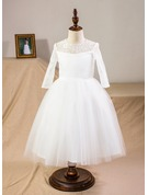 Tea-length Flower Girl Dress - Satin Tulle Lace Long Sleeves Scoop Neck