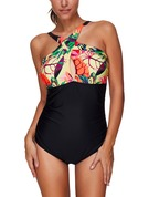 Floral Halter One-piece Swimsuit