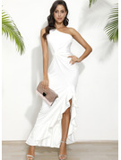 One Shoulder Sleeveless Sheath Maxi Dresses