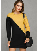 Color Block Klumpete strikke Polyester round Neck Pull over Gensere kjoler Gensere