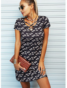 Print A-line V-Neck Short Sleeves Midi Casual Skater Dresses