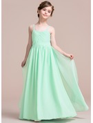 A-Line Sweetheart Floor-Length Chiffon Junior Bridesmaid Dress With Cascading Ruffles
