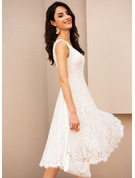 A-Line V-neck Knee-Length Wedding Dress