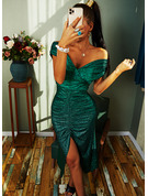 Sequins Solid Sheath Off the Shoulder Short Sleeves Midi Elegant Party Dresses