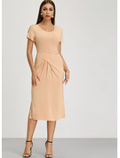Scoop Neck Tea-Length Evening Dress With Ruffle