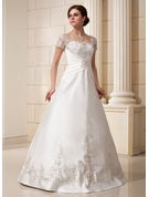 Ball-Gown Square Neckline Floor-Length Satin Wedding Dress With Embroidered Ruffle Sequins