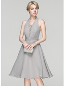 A-Line/Princess Halter Knee-Length Chiffon Cocktail Dress With Ruffle