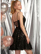 A-Line V-neck Short/Mini Sequined Prom Dresses
