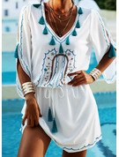 Print Sheath Cold Shoulder 1/2 Sleeves Midi Boho Casual Vacation Dresses