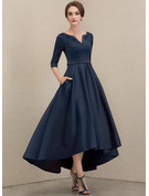 A-Line V-neck Asymmetrical Satin Mother of the Bride Dress With Beading Sequins Pockets