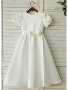 A-Line/Princess Ankle-length Flower Girl Dress - Satin Lace Short Sleeves Scoop Neck