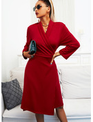 Solid A-line Suit Collar 3/4 Sleeves Midi Elegant Little Black Skater Wrap Dresses