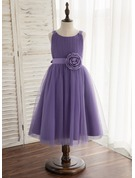 A-Line/Princess Tea-length Flower Girl Dress - Tulle Sleeveless Scoop Neck With Flower(s)
