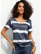 Manches courtes Polyester Col V Tricot Blouses