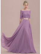 A-Line/Princess Off-the-Shoulder Floor-Length Chiffon Lace Bridesmaid Dress