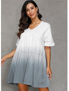 Polyester With Color-block/Crumple Knee Length Dress
