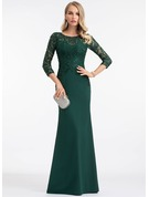 Sheath/Column Scoop Neck Floor-Length Stretch Crepe Evening Dress With Sequins