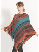 Striped Oversized/Cold weather Cashmere Poncho