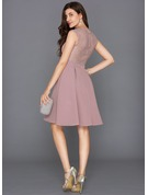 A-Line/Princess V-neck Knee-Length Stretch Crepe Cocktail Dress